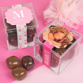 Personalized Girl Birth Announcement JUST CANDY® favor cube with Premium Milk & Dark Chocolate Sea Salt Caramels
