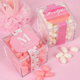 Personalized Girl Birth Announcement JUST CANDY® favor cube with Jelly Belly Jelly Beans