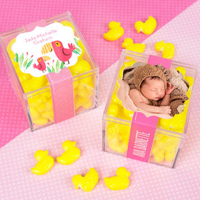 Personalized Girl Birth Announcement JUST CANDY® favor cube with Quackers Ducks