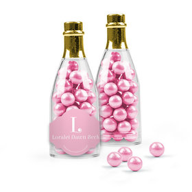 Personalized Girl Birth Announcement Favor Assembled Champagne Bottle with Sixlets