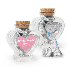 Personalized Girl Birth Announcement Favor Assembled Heart Jar with Hershey's Kisses