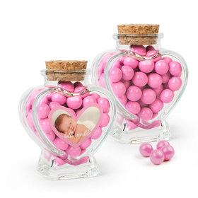 Personalized Girl Birth Announcement Favor Assembled Heart Jar with Sixlets