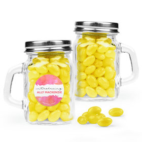 Personalized Girl Birth Announcement Favor Assembled Mini Mason Mug with Just Candy Jelly Beans