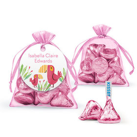 Personalized Girl Birth Announcement Favor Assembled Organza Bag with Hershey's Kisses