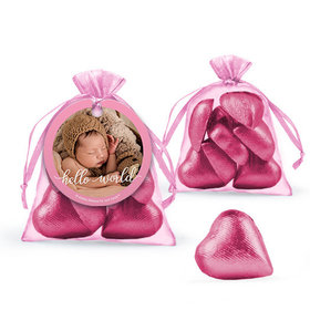 Personalized Girl Birth Announcement Favor Assembled Organza Bag with Milk Chocolate Hearts