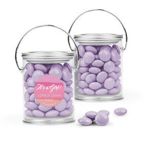 Personalized Girl Birth Announcement Favor Assembled Paint Can with Just Candy Milk Chocolate Minis