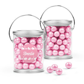 Personalized Girl Birth Announcement Favor Assembled Paint Can with Sixlets