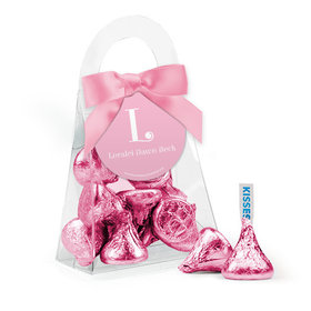 Personalized Girl Birth Announcement Favor Assembled Purse with Hershey's Kisses