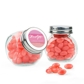 Personalized Girl Birth Announcement Favor Assembled Mini Side Jar with Just Candy Jelly Beans
