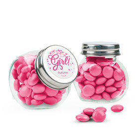 Personalized Girl Birth Announcement Favor Assembled Mini Side Jar with Just Candy Milk Chocolate Minis