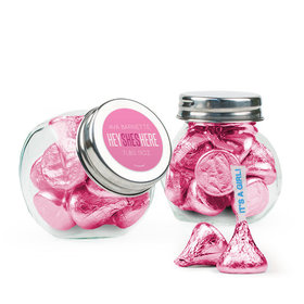 Personalized Girl Birth Announcement Favor Assembled Mini Side Jar with Hershey's Kisses