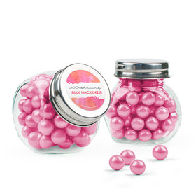 Personalized Girl Birth Announcement Favor Assembled Mini Side Jar with Sixlets
