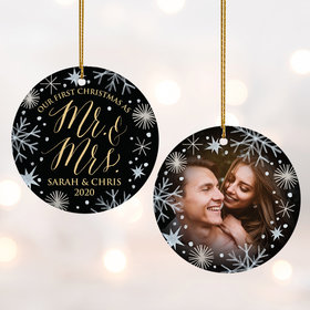 First As Mr & Mrs' Wedding Photo Ornament