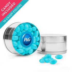 Personalized Business Add Your Logo Favor Assembled Small Round Plastic Tin with Just Candy Jelly Beans