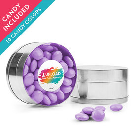 Personalized Business Add Your Logo Favor Assembled Small Round Plastic Tin with Just Candy Milk Chocolate Minis