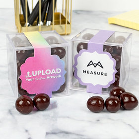 Personalized Business Add Your Logo JUST CANDY® favor cube with Premium Barrel Aged Bourbon Cordials - Dark Chocolate