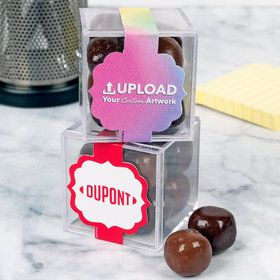 Personalized Business Add Your Logo JUST CANDY® favor cube with Premium Milk & Dark Chocolate Sea Salt Caramels