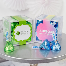 Personalized Business Add Your Logo JUST CANDY® favor cube with Hershey's Kisses