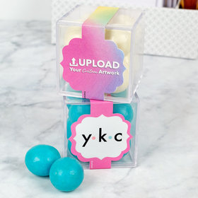 Personalized Business Add Your Logo JUST CANDY® favor cube with Premium Malted Milk Balls