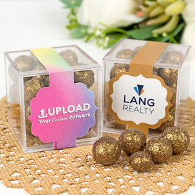 Personalized Business Add Your Logo JUST CANDY® favor cube with Premium Sparkling Prosecco Cordials - Dark Chocolate