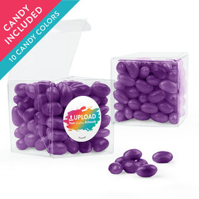 Personalized Business Add Your Logo Favor Assembled Clear Box with Just Candy Jelly Beans