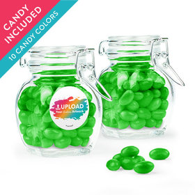 Personalized Business Add Your Logo Favor Assembled Swing Top Jar with Just Candy Jelly Beans