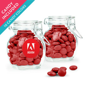 Personalized Business Add Your Logo Favor Assembled Swing Top Jar with Just Candy Milk Chocolate Minis