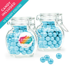 Personalized Business Add Your Logo Favor Assembled Swing Top Jar with Sixlets