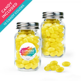Personalized Business Add Your Logo Favor Assembled Mini Mason Jar with Just Candy Jelly Beans