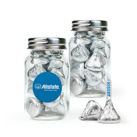 Personalized Business Add Your Logo Favor Assembled Mini Mason Jar with Hershey's Kisses