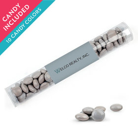 Personalized Business Add Your Logo Favor Assembled Clear Tube with Just Candy Milk Chocolate Minis
