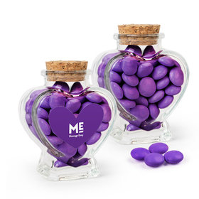 Personalized Business Add Your Logo Favor Assembled Heart Jar with Just Candy Milk Chocolate Minis