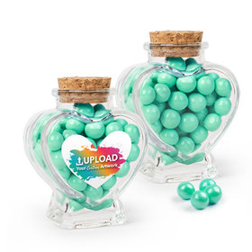 Personalized Business Add Your Logo Favor Assembled Heart Jar with Sixlets