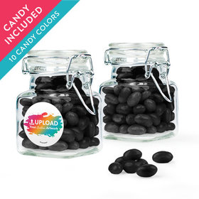 Personalized Business Add Your Logo Favor Assembled Swing Top Square Jar with Just Candy Jelly Beans