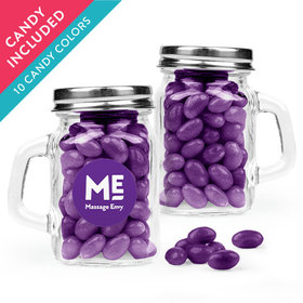 Personalized Business Add Your Logo Favor Assembled Mini Mason Mug with Just Candy Jelly Beans