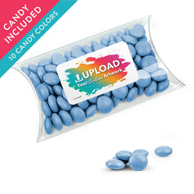 Personalized Business Add Your Logo Favor Assembled Pillow Box with Just Candy Milk Chocolate Minis