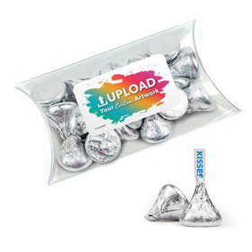 Personalized Business Add Your Logo Favor Assembled Pillow Box with Hershey's Kisses