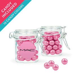 Personalized Business Add Your Logo Favor Assembled Swing Top Round Jar with Sixlets