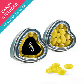 Personalized Business Add Your Logo Favor Assembled Heart Tin with Just Candy Jelly Beans