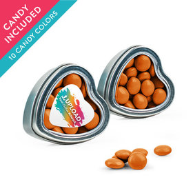 Personalized Business Add Your Logo Favor Assembled Heart Tin with Just Candy Milk Chocolate Minis