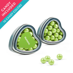 Personalized Business Add Your Logo Favor Assembled Heart Tin with Sixlets