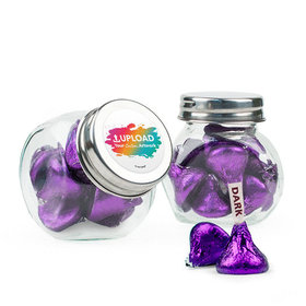 Personalized Business Add Your Logo Favor Assembled Mini Side Jar with Hershey's Kisses