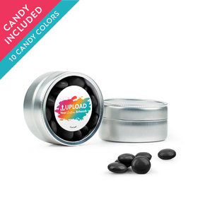 Personalized Business Add Your Logo Favor Assembled Mini Round Tin with Just Candy Milk Chocolate Minis
