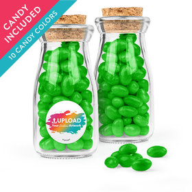 Personalized Business Add Your Logo Favor Assembled Glass Bottle with Cork Top with Just Candy Jelly Beans