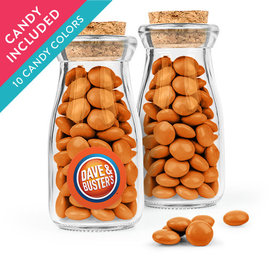 Personalized Business Add Your Logo Favor Assembled Glass Bottle with Cork Top with Just Candy Milk Chocolate Minis