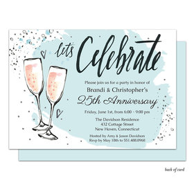 Bonnie Marcus Collection Bubbly Anniversary Party Invitation Blue