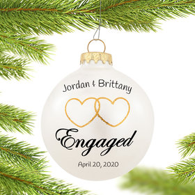 Two Hearts Engaged Ornament