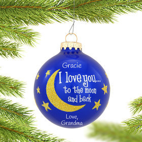 I Love You To The Moon And Back Gold Glitter Ornament