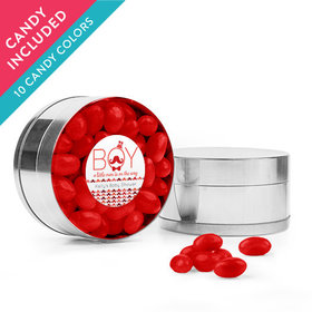 Personalized Baby Shower Favor Assembled Small Round Plastic Tin with Just Candy Jelly Beans