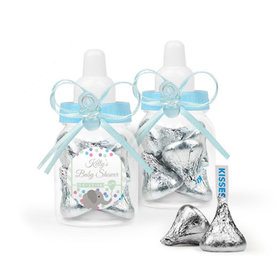 Personalized Baby Shower Favor Assembled Light Blue Baby Bottle with Hershey's Kisses